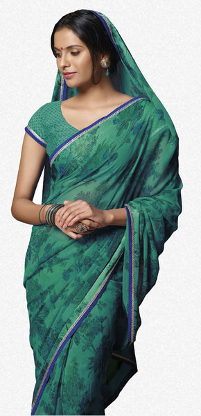 Jasmeen: Designer Printed Sarees:atisundar   excellent Designer Printed Saree in Sea Green  - 5165 - atisundar - 1 - click to zoom