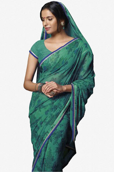 Jasmeen: Designer Printed Sarees:atisundar   excellent Designer Printed Saree in Sea Green  - 5165 - click to zoom