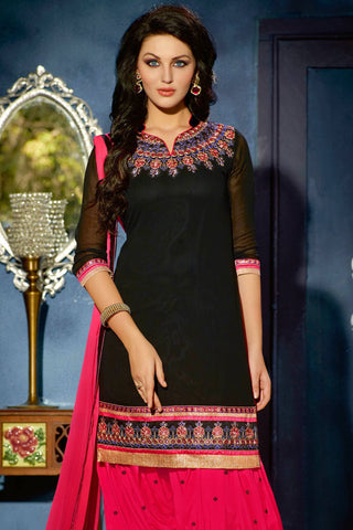 Designer Straight Cut:atisundar elegant Black Designer Party Wear Straight Cut - 12864