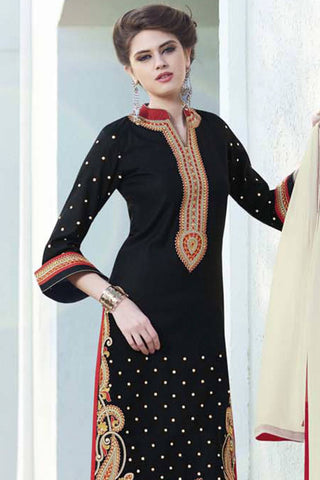 Designer Straight Cut:atisundar dazzling Black Designer Party Wear Straight Cut - 12866