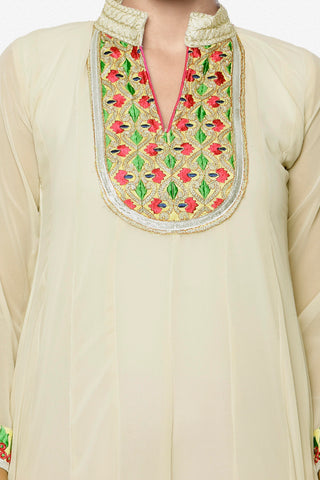Designer Partywear Semistitched Anarkali:atisundar classy   in Cream And Pink - 5178