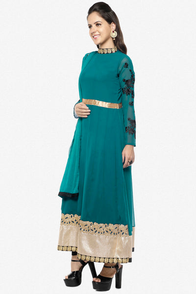 Designer Partywear Semistitched Anarkali:atisundar stunning   in Green - 5180 - click to zoom