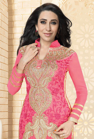 The karishma Kapoor Collection!:atisundar beauteous Pink Designer Straight Cut  - 7886 - atisundar - 2