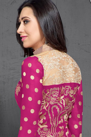 The Karishma Kapoor Collection:atisundar Awesome Pink Designer Straight Cut  - 7021 - atisundar - 5