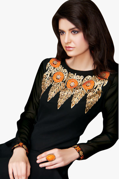Designer Tops:atisundar exquisite Faux Georgette Designer Embroidered Party Wear Top in Black - 11035 - click to zoom