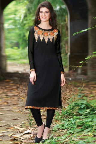 Designer Tops:atisundar exquisite Faux Georgette Designer Embroidered Party Wear Top in Black - 11035 - atisundar - 3 - click to zoom