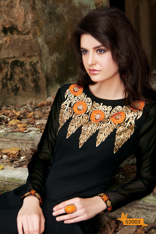 Designer Tops:atisundar exquisite Faux Georgette Designer Embroidered Party Wear Top in Black - 11035 - atisundar - 4 - click to zoom