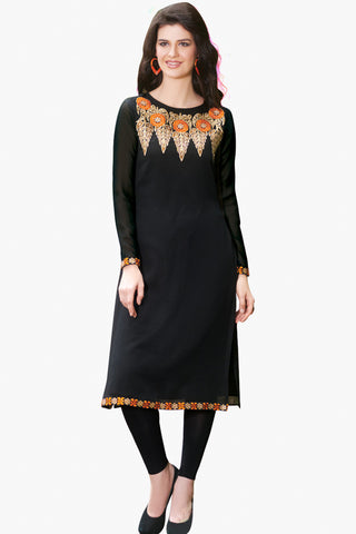 Designer Tops:atisundar exquisite Faux Georgette Designer Embroidered Party Wear Top in Black - 11035 - atisundar - 1 - click to zoom