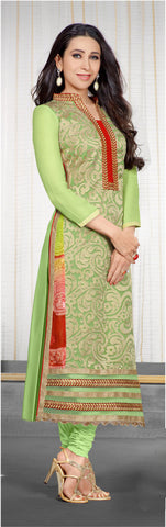 The Karishma Kapoor Collection:atisundar splendid Light Green Designer Straight Cut  - 7023 - atisundar - 3 - click to zoom