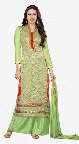 The Karishma Kapoor Collection:atisundar splendid Light Green Designer Straight Cut  - 7023 - atisundar - 1 - click to zoom