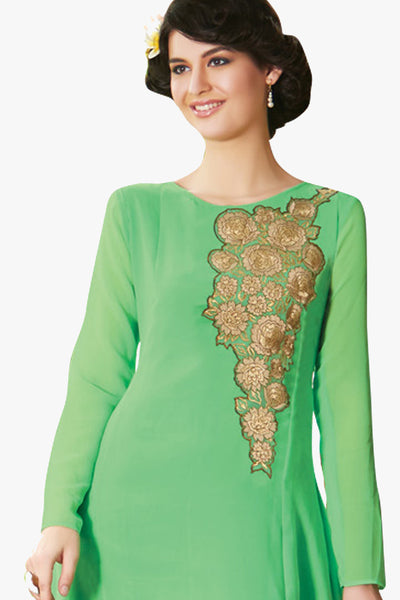 Designer Tops:atisundar exquisite Faux Georgette Designer Embroidered Party Wear Top in Green - 11050 - atisundar - 2 - click to zoom