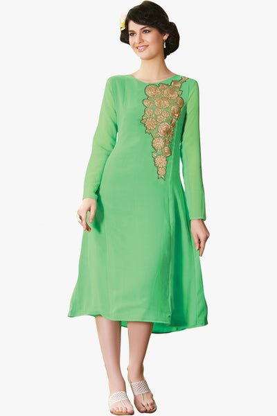 Designer Tops:atisundar exquisite Faux Georgette Designer Embroidered Party Wear Top in Green - 11050 - atisundar - 1 - click to zoom
