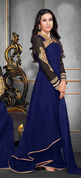 The Karishma Kapoor Collection:atisundar wonderful Blue Designer Party Wear Straight Cut Suits In Faux Georgette - 9937 - atisundar - 2 - click to zoom
