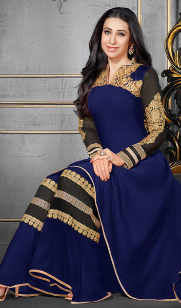 The Karishma Kapoor Collection:atisundar wonderful Blue Designer Party Wear Straight Cut Suits In Faux Georgette - 9937 - atisundar - 3 - click to zoom