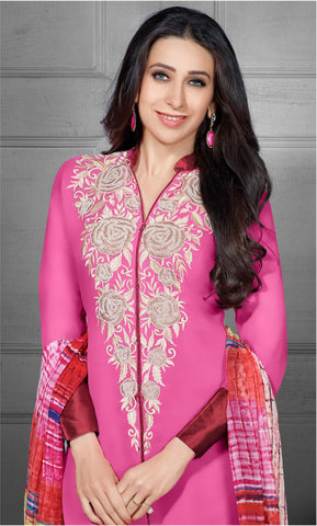 The Karishma Kapoor Collection:atisundar excellent Pink Designer Straight Cut  - 7027 - atisundar - 4 - click to zoom