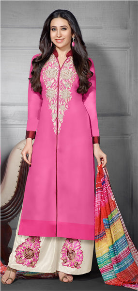The Karishma Kapoor Collection:atisundar excellent Pink Designer Straight Cut  - 7027 - click to zoom