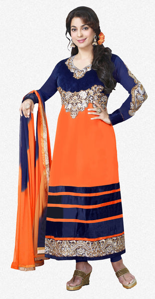 The Juhi Chawla Collection:atisundar fascinating   in Orange And Nevy Blue - 5206 - atisundar - 1 - click to zoom
