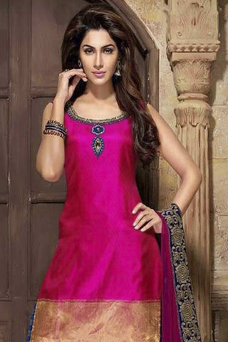 Designer Straight Cut:atisundar enticing Pink Designer Party Wear Straight Cut - 12869