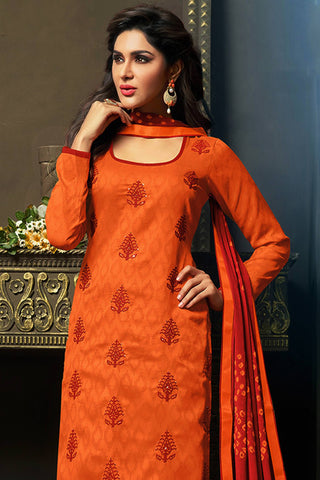 Designer Straight Cut:atisundar radiant Orange Designer Party Wear Straight Cut - 12870