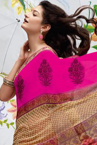 Jhoomta Sawan Designer Sarees:atisundar Jhoomta Sawan printed saree collection Lovely Designer Printed Saree in Light Yellow  - 5296 - atisundar - 5 - click to zoom