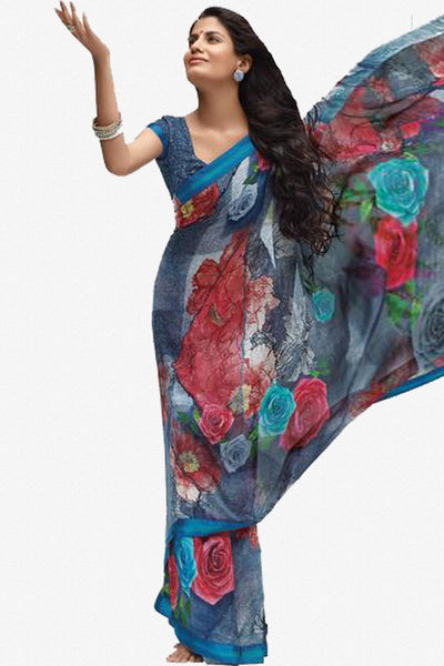 Jhoomta Sawan Designer Sarees:atisundar Jhoomta Sawan printed saree collection ravishing Designer Printed Saree in Multi Color  - 5297 - atisundar - 1 - click to zoom