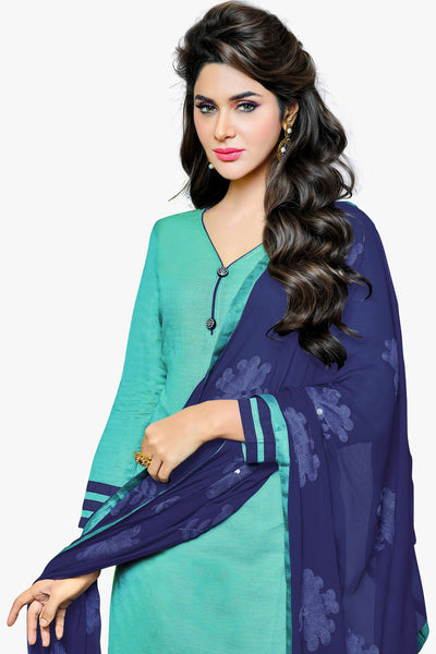Designer Straight Cut:atisundar delightful Sky Blue Designer Party Wear Straight Cut in Satin Cotton - 11824 - atisundar - 2 - click to zoom