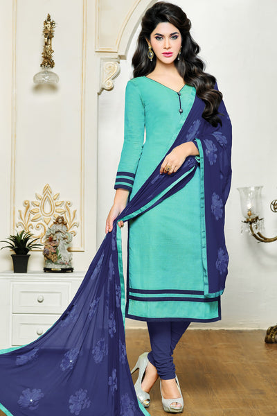 Designer Straight Cut:atisundar delightful Sky Blue Designer Party Wear Straight Cut in Satin Cotton - 11824 - atisundar - 3 - click to zoom