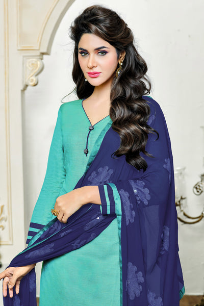 Designer Straight Cut:atisundar delightful Sky Blue Designer Party Wear Straight Cut in Satin Cotton - 11824 - atisundar - 4 - click to zoom