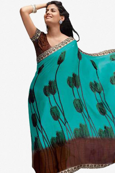 Jhoomta Sawan Designer Printed Saree Collection:atisundar   radiant Designer Printed Saree in Medium Turquoise  - 5301 - atisundar - 1 - click to zoom
