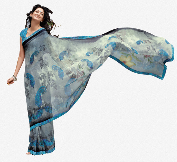 Jhoomta Sawan Designer Printed Saree Collection:atisundar   enticing Designer Printed Saree in Gray  - 5304 - atisundar - 1 - click to zoom