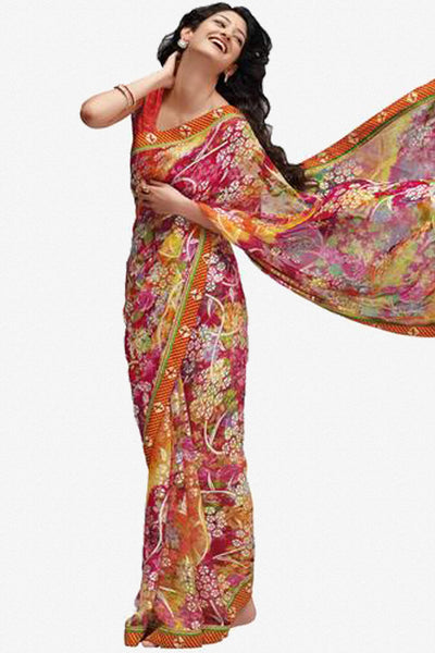 Jhoomta Sawan Designer Printed Saree Collection:atisundar   Awesome Designer Printed Saree in Orange  - 5321 - atisundar - 1 - click to zoom