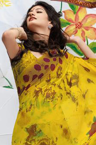 Jhoomta Sawan Designer Printed Saree Collection:atisundar   exquisite Designer Printed Saree in Golden Yellow   - 5324 - atisundar - 5