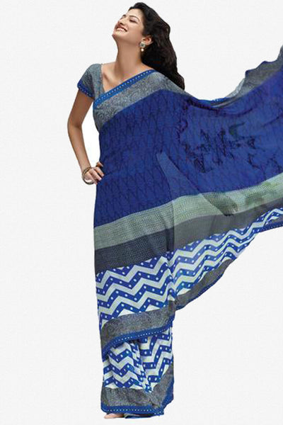 Jhoomta Sawan Designer Printed Saree Collection:atisundar   splendid Designer Printed Saree in Royal Blue  - 5325 - atisundar - 1 - click to zoom