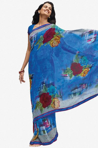 Jhoomta Sawan Designer Printed Saree Collection:atisundar   ravishing Designer Printed Saree in Steel Blue   - 5327 - atisundar - 1 - click to zoom