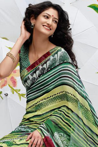 Jhoomta Sawan Designer Printed Saree Collection:atisundar   resplendent Designer Printed Saree in Green  - 5328 - atisundar - 5