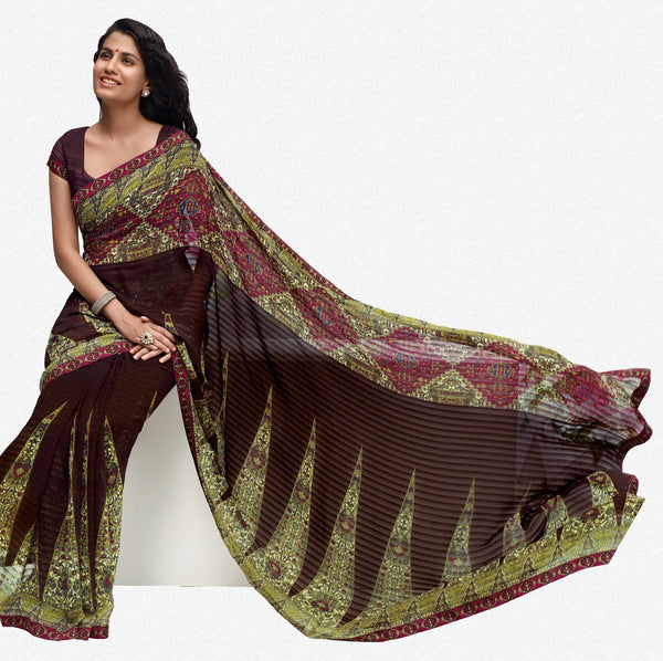 Jhoomta Sawan Designer Printed Saree Collection:atisundar   fair Designer Printed Saree in Dark Brown & Olive Green  - 5332 - atisundar - 2 - click to zoom