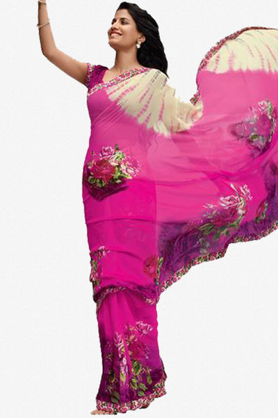 Jhoomta Sawan Designer Printed Saree Collection:atisundar   Superb Designer Printed Saree in Magenta & Multi  - 5336 - atisundar - 1 - click to zoom