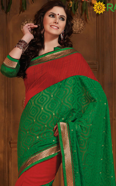 Rajguru Radiance:atisundar   fascinating Designer Embroidery Saree in Green  - 5388 - atisundar - 3 - click to zoom
