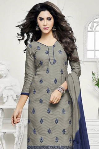 Designer Straight Cut:atisundar Smart Grey Designer Party Wear Straight Cut - 12878