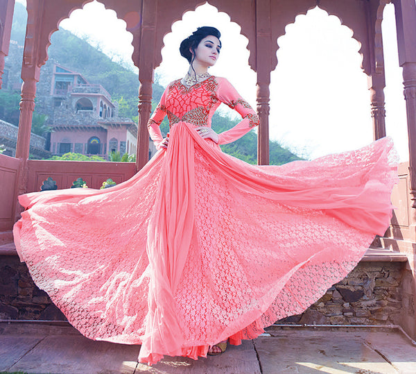 Designer Gowns!:atisundar Charismatic Russel Net And Net Designer Partywear Gowns in Pink - 7100 - atisundar - 4 - click to zoom