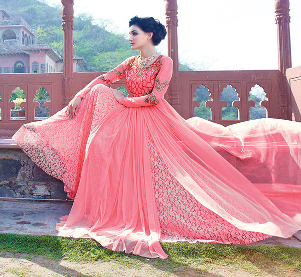 Designer Gowns!:atisundar Charismatic Russel Net And Net Designer Partywear Gowns in Pink - 7100 - atisundar - 5 - click to zoom