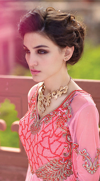 Designer Gowns!:atisundar Charismatic Russel Net And Net Designer Partywear Gowns in Pink - 7100 - atisundar - 6 - click to zoom