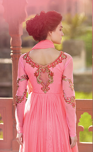 Designer Gowns!:atisundar Charismatic Russel Net And Net Designer Partywear Gowns in Pink - 7100 - atisundar - 7 - click to zoom