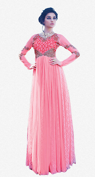Designer Gowns!:atisundar Charismatic Russel Net And Net Designer Partywear Gowns in Pink - 7100 - atisundar - 2 - click to zoom