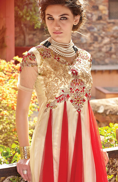 Designer Gowns!:atisundar Attractive Net Designer Partywear Gowns in Red And White - 7102 - atisundar - 7 - click to zoom