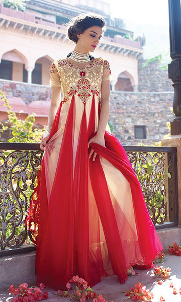 Designer Gowns!:atisundar Attractive Net Designer Partywear Gowns in Red And White - 7102 - atisundar - 5 - click to zoom