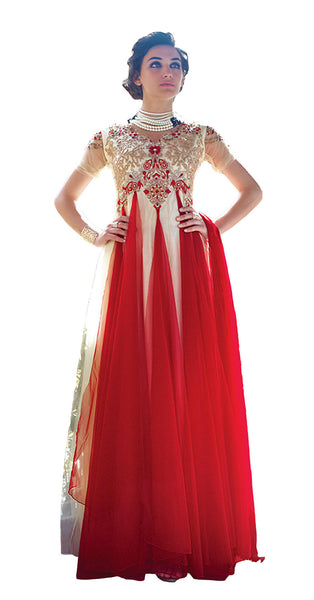 Designer Gowns!:atisundar Attractive Net Designer Partywear Gowns in Red And White - 7102 - atisundar - 2 - click to zoom