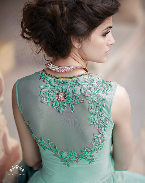 Designer Gowns!:atisundar marvelous Net Designer Partywear Gowns in Sea Green - 7105 - atisundar - 4 - click to zoom