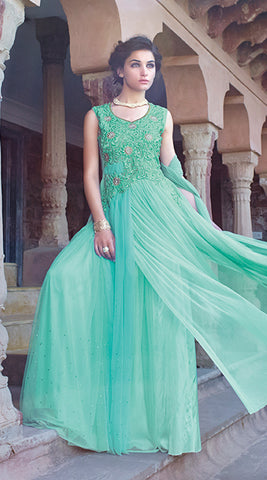 Designer Gowns!:atisundar marvelous Net Designer Partywear Gowns in Sea Green - 7105 - atisundar - 5 - click to zoom