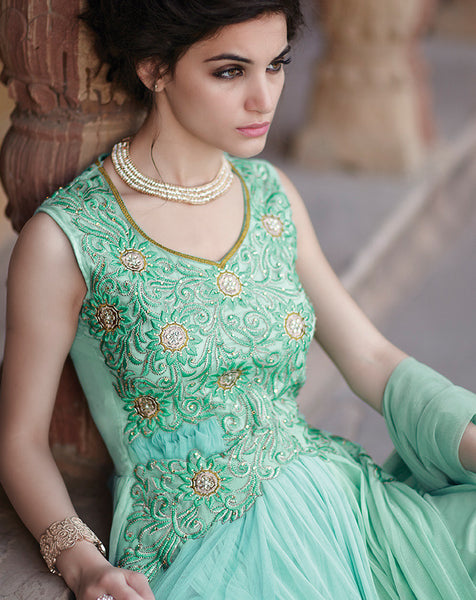 Designer Gowns!:atisundar marvelous Net Designer Partywear Gowns in Sea Green - 7105 - atisundar - 6 - click to zoom